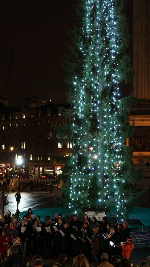 Christmas Market at Trafalgar Square with Christmas Tree in London, United Kingdom.  royalty free stock photos