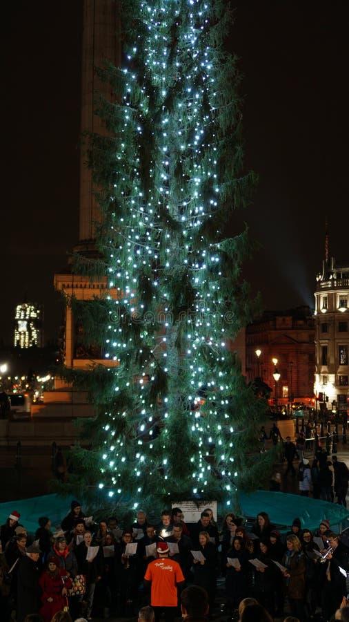 Christmas Market at Trafalgar Square with Christmas Tree in London, United Kingdom.  royalty free stock photography