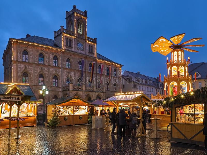 Christmas market in Weimar, Germany stock photo