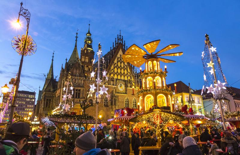 Christmas market in Wroclaw, Poland. WROCLAW, POLAND - DEC 8, 2017: Christmas market on Market square Rynek in Wroclaw, Poland. One of Poland`s best and largest stock photography