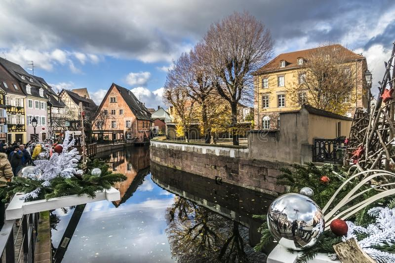 Christmas markets on Colmar streets stock images
