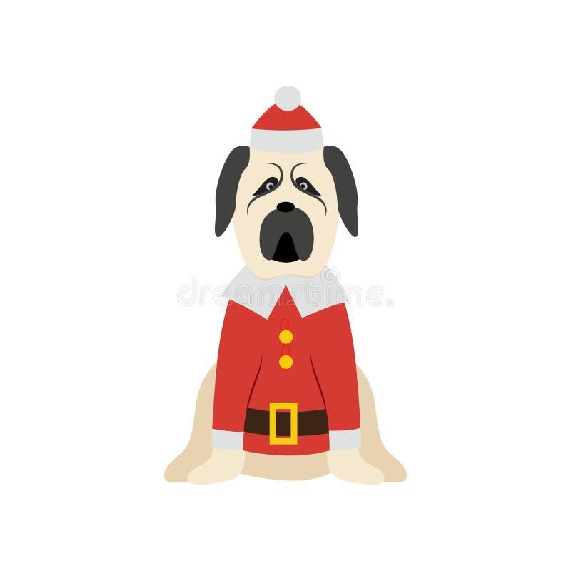 Christmas mastiff dog wearing Santa costume and hat stock illustration