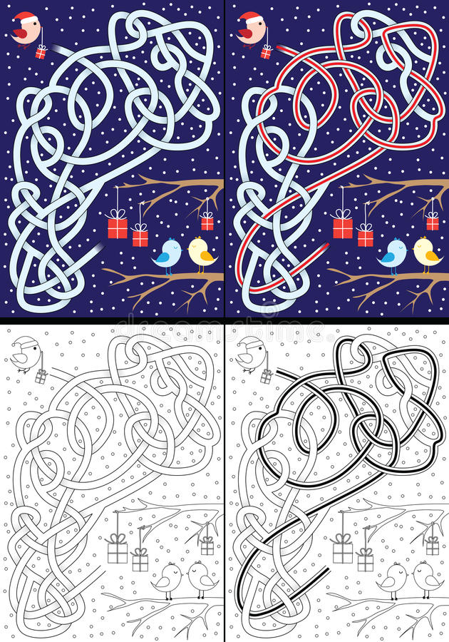 Christmas maze vector illustration