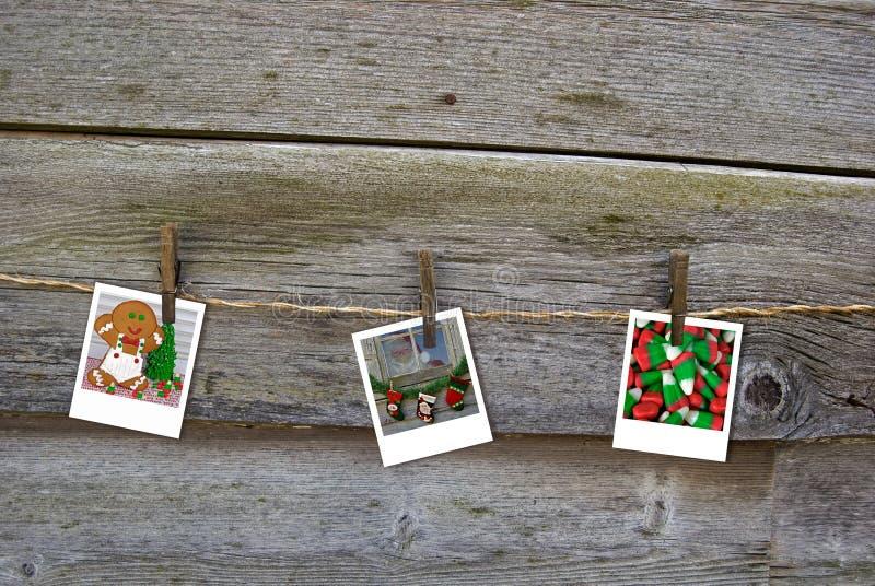 Christmas Memories. Christmas photos hanging from baling twine stock image
