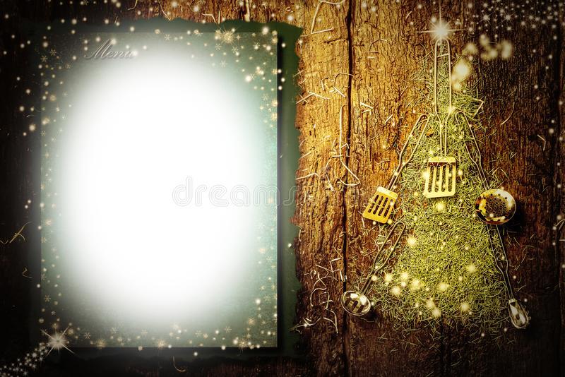 Christmas menu background, copy space royalty free stock image