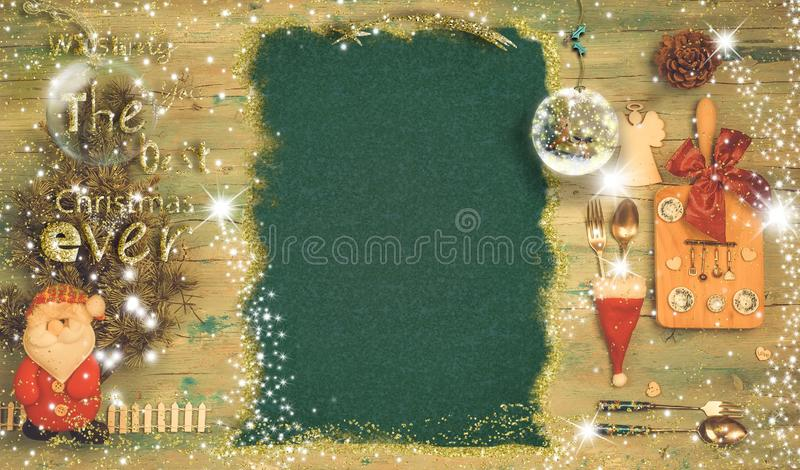Christmas menu background and holiday message royalty free stock photos