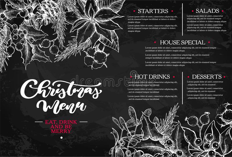 Christmas menu. Chalkboard restaurant and cafe template. Vector hand drawn illustration stock illustration