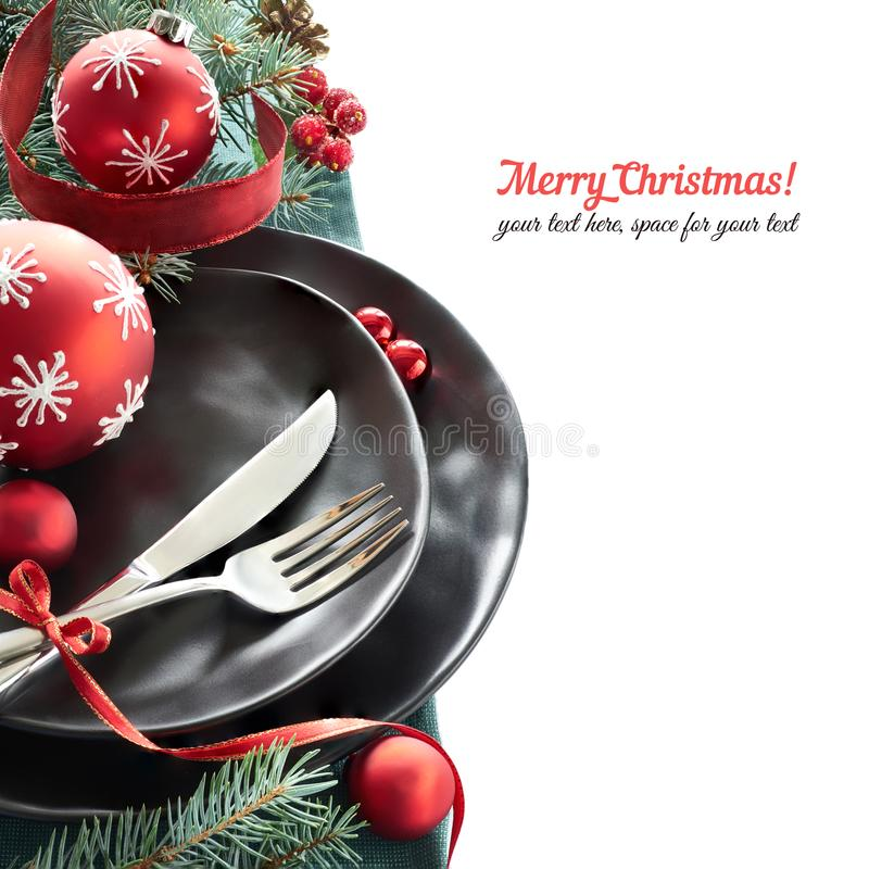 Christmas menu concept with black plates and cutlery on stock photos
