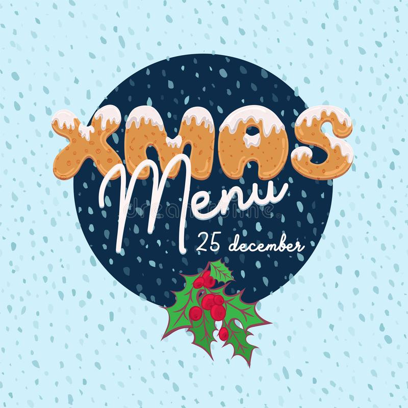 Christmas menu design in cartoon style with text form of homemade cookies. Doodle letters for brochure, poster, vintage vector illustration