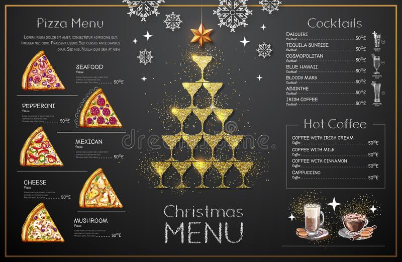 Christmas menu design with golden champagne glasses. Pyramid of champagne glasses royalty free illustration
