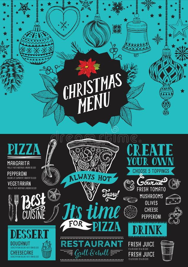 Christmas menu food template for restaurant. vector illustration