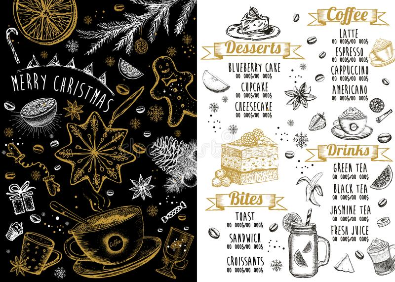 Christmas menu. Restaurant cafe menu. Template design vector illustration