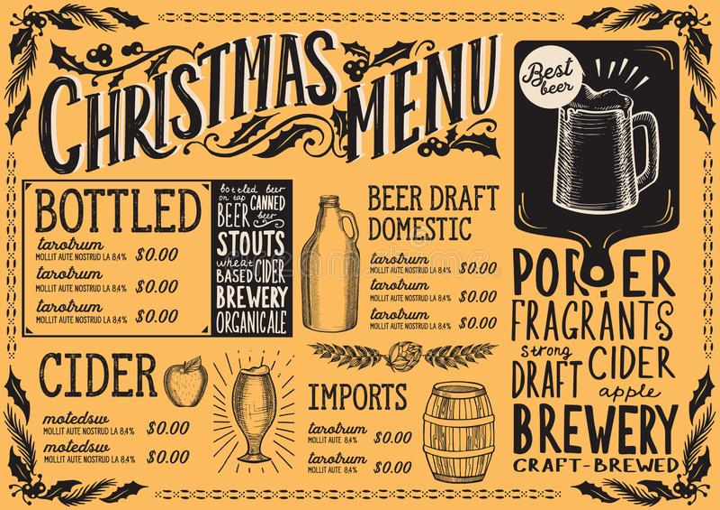 Christmas menu template for beer restaurant royalty free illustration