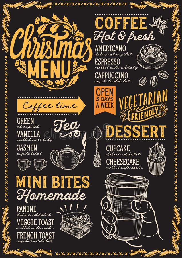 Christmas menu template for coffee shop on a blackboard background vector illustration brochure for xmas day celebration. Design vector illustration