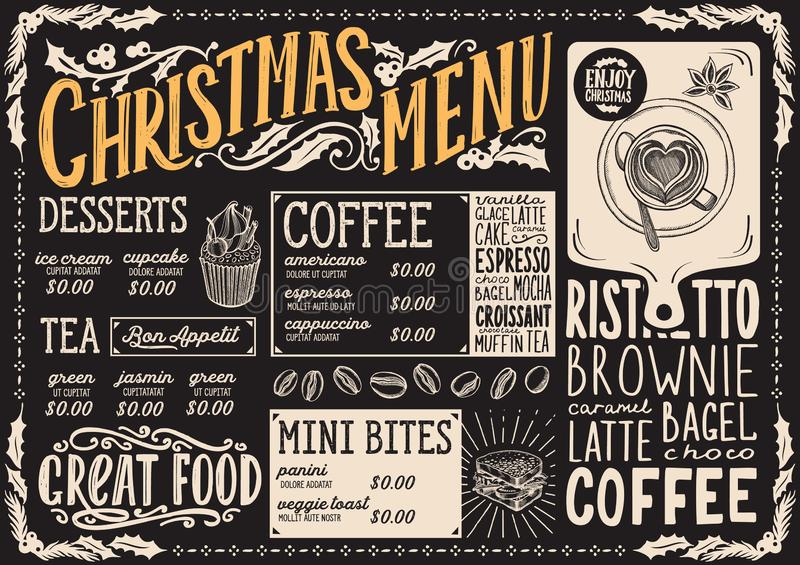 Christmas menu template for coffee shop on a blackboard vector illustration brochure for xmas day celebration. Design poster with. Vintage lettering and holiday stock illustration