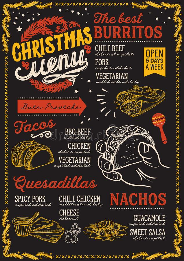 Christmas menu template for mexican restaurant and cafe on a blackboard background vector illustration brochure for xmas dinner. Celebration. Design poster with stock illustration