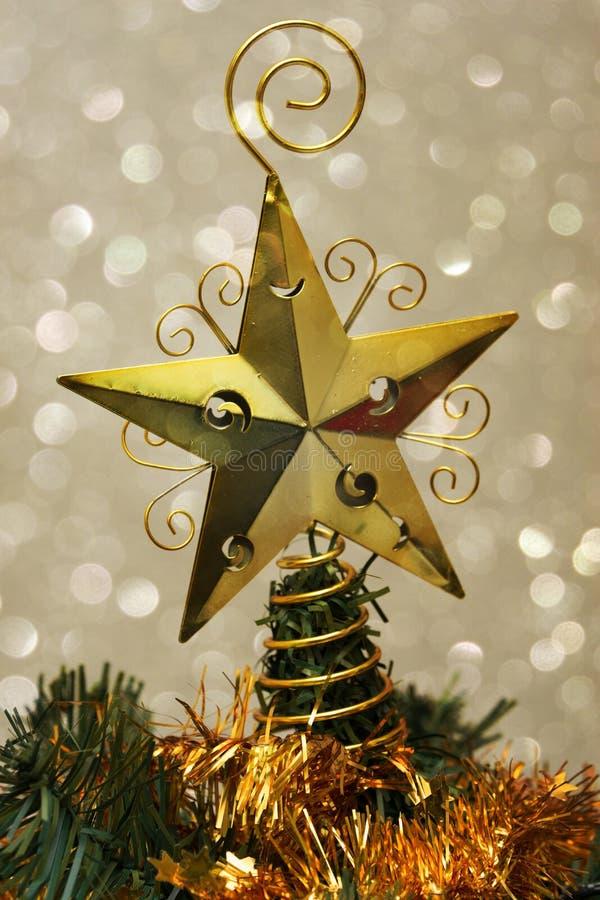 Christmas metal star tree top decoration stock photos