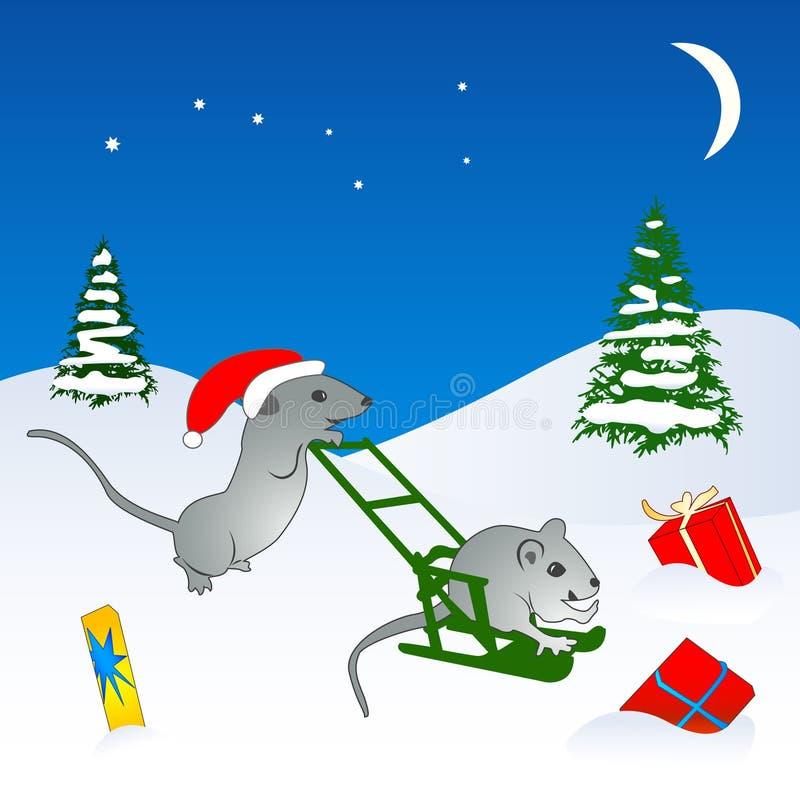 Christmas Mice Illustration Stock Photography
