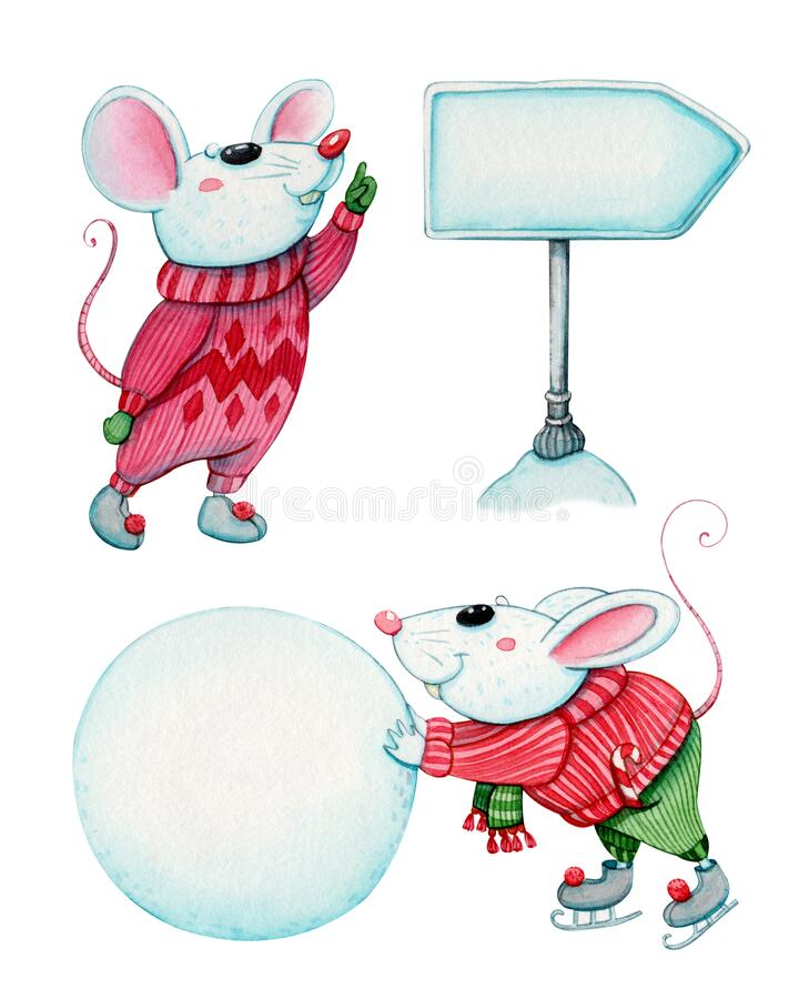 Free Christmas Mice With Street Sign And Snow Ball Royalty Free Stock Photo - 185563695
