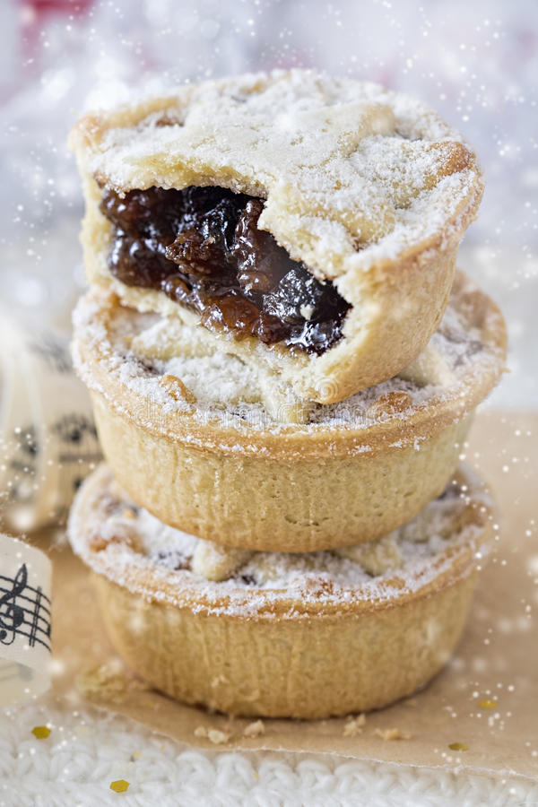 Christmas Mince pie. On festive table royalty free stock photo