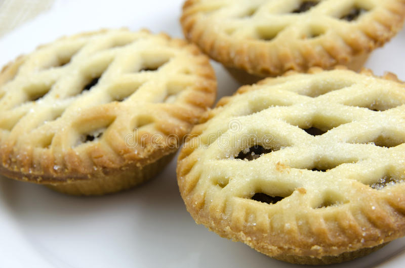 Christmas Mince Pie. Lattice Christmas Mince Pie with sugar bits royalty free stock photography