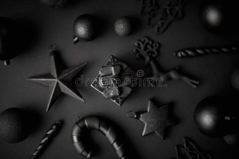 Christmas minimalistic and simple composition in mat black color royalty free stock images