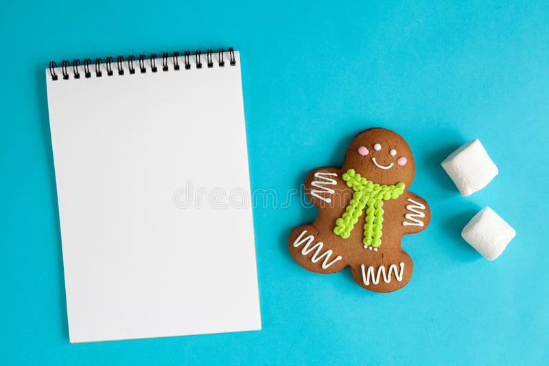 Christmas mock-up with gingerbread man. Christmas blue mock-up with gingerbread man. Christmas concept. 2019 year royalty free stock photos