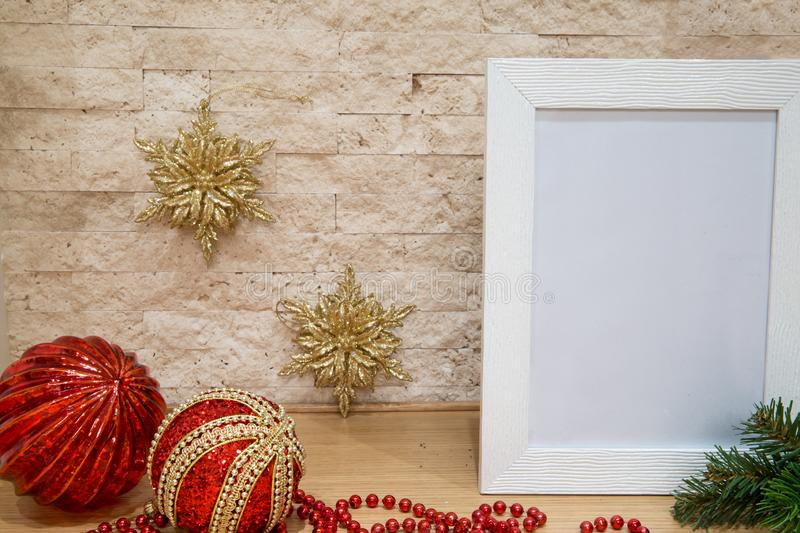 Christmas mock up, greeting card, red beads, golden snowflake, r stock images