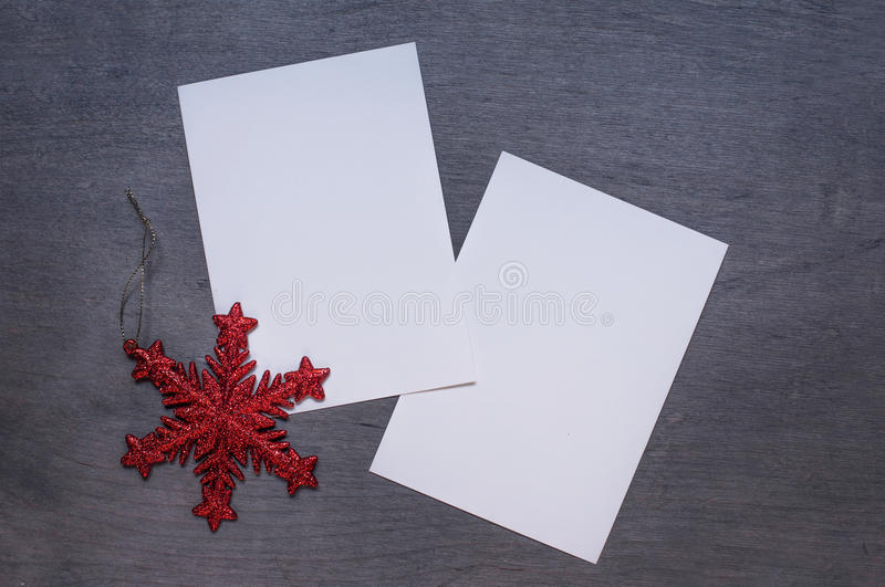 Christmas mock up with red star royalty free stock photos
