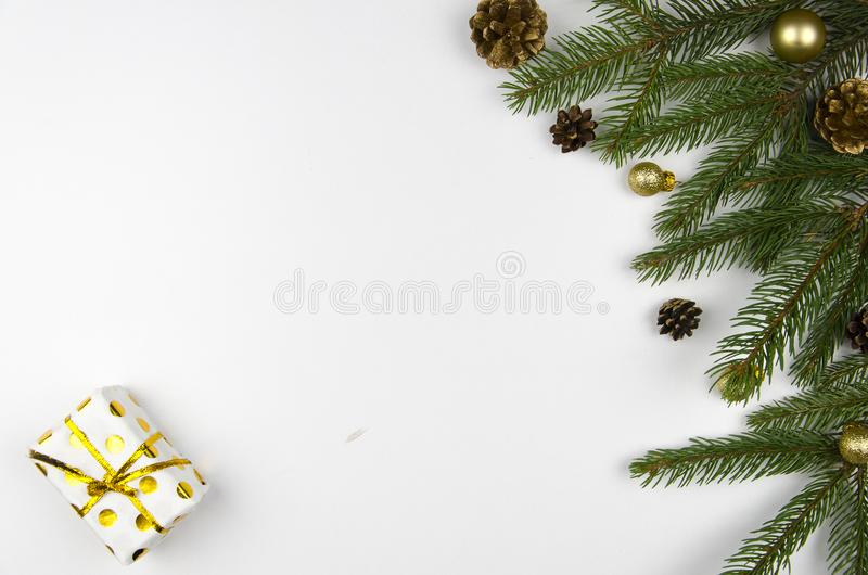 Christmas mockup flat lay styled scene with christmas tree and decorations. Copy space royalty free stock images