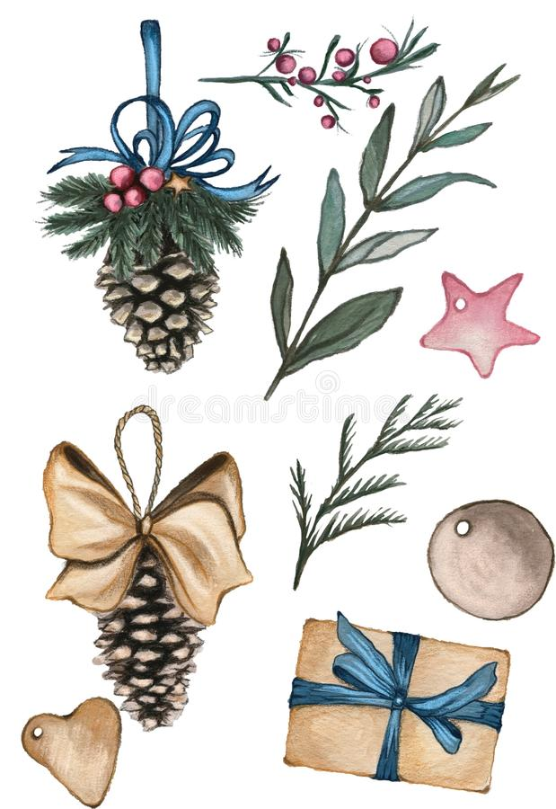 A set of objects in Christmas theme. Pine cones, branches, red berries, tags and a gift on the white background. Christmas mood. Hand drawn water color stock illustration