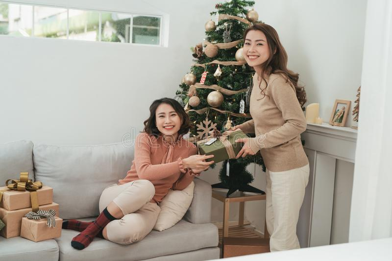 Christmas mood. happy new year. xmas present box. winter holidays.  royalty free stock photo