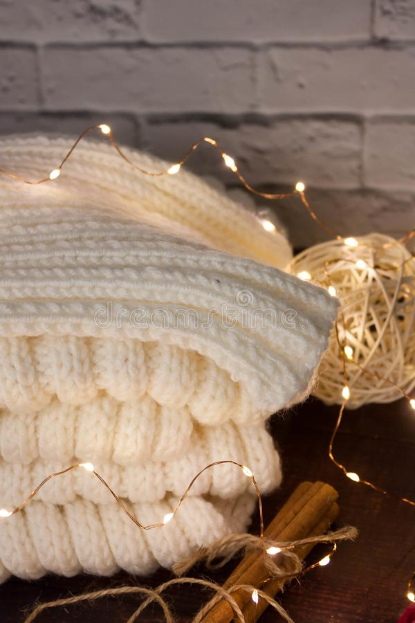 Christmas mood with Harry Potter. Warm christmas setting, light bulbs, garlands royalty free stock photography