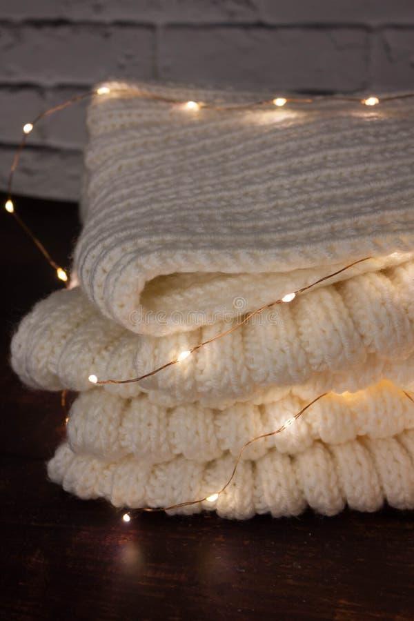 Christmas mood with Harry Potter. Warm christmas setting, light bulbs, garlands royalty free stock image