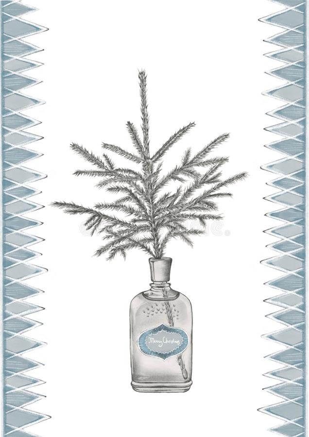 a spruce branch in the old fashioned perfume bottle stock illustration