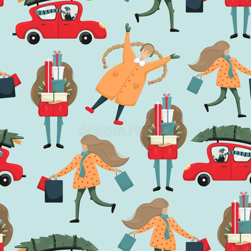 Christmas mood. Seamless pattern with people in fuss for a Christian holiday stock illustration