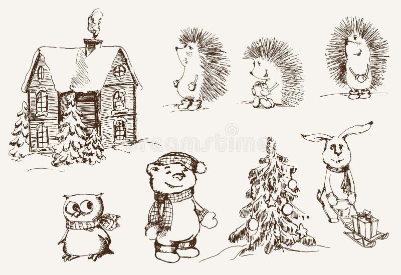 Download Christmas mood stock vector. Image of hare, retro, design - 33460558