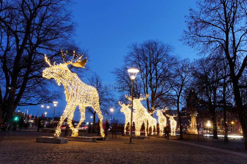 Christmas moose floc made of led light. Floc of Christmas moose made of led light, Nybrokajen, Stockholm, Sweden stock photo