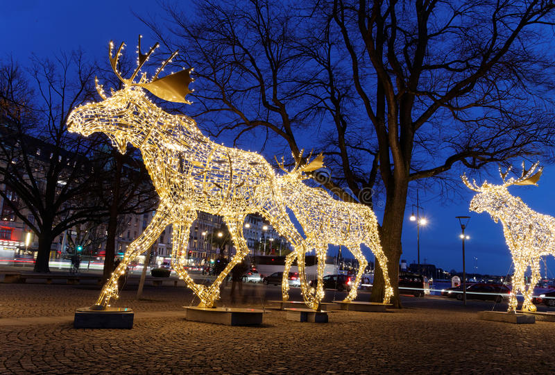 Christmas moose floc made of led light. Floc of Christmas moose made of led light, Nybrokajen, Stockholm, Sweden royalty free stock photo