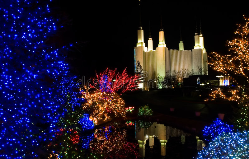 Christmas at Mormon Temple. Colorful Christmas lights at night at the Mormon Temple, Washington, DC royalty free stock photo