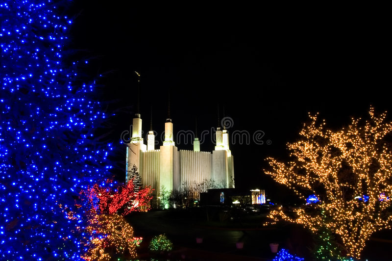 Christmas at Mormon Temple. Colorful Christmas lights at night with a nice view of the Mormon Temple, Washington, DC in the background royalty free stock image