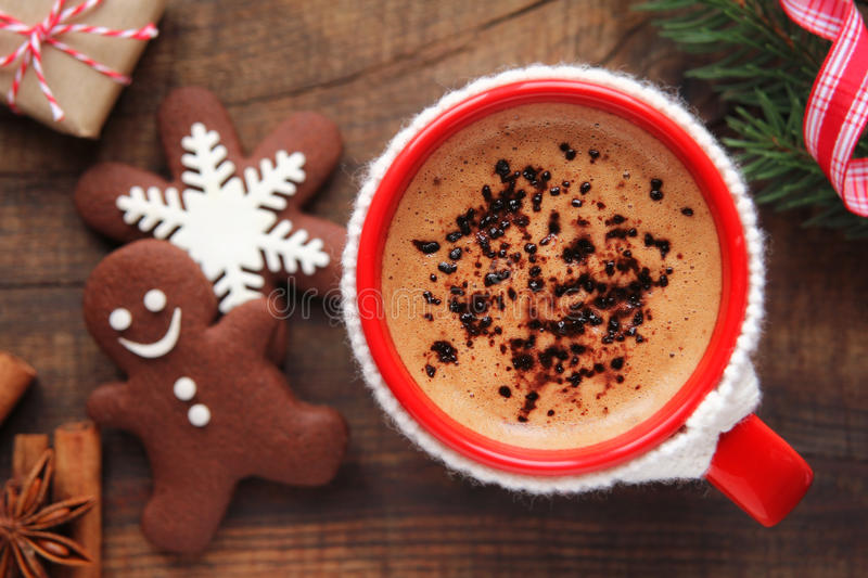 Christmas morning coffee and cookies royalty free stock photo
