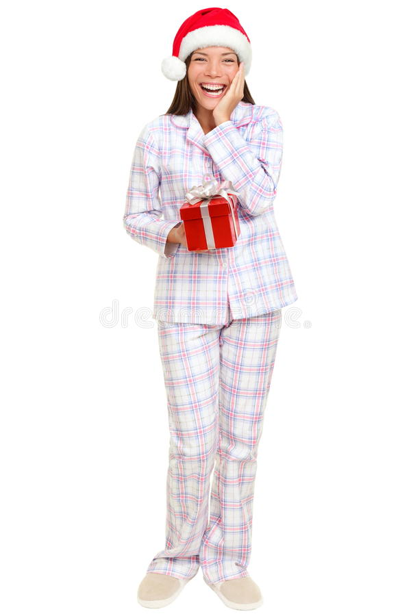 Download Christmas Morning Santa Woman Holding Gift Stock Image - Image of holiday, holidays: 21385703