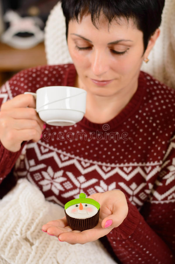 Christmas morning. Teatime royalty free stock images