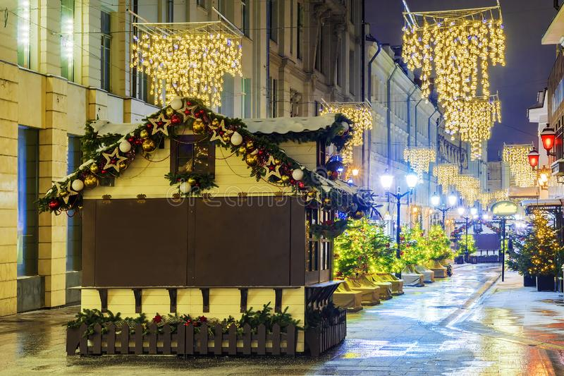 Christmas in Moscow. Christmas fairs on the streets of Moscow.  royalty free stock photo