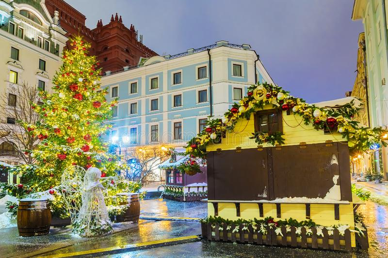 Christmas in Moscow. Christmas fairs on the streets of Moscow.  stock photography