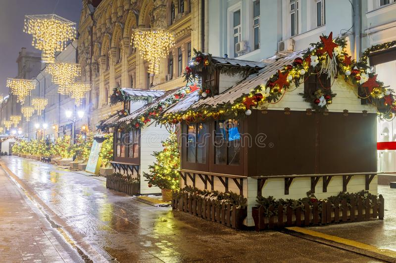 Christmas in Moscow. Christmas fairs on the streets of Moscow.  stock photos
