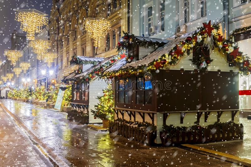 Christmas in Moscow. Christmas fairs on the streets of Moscow.  stock images