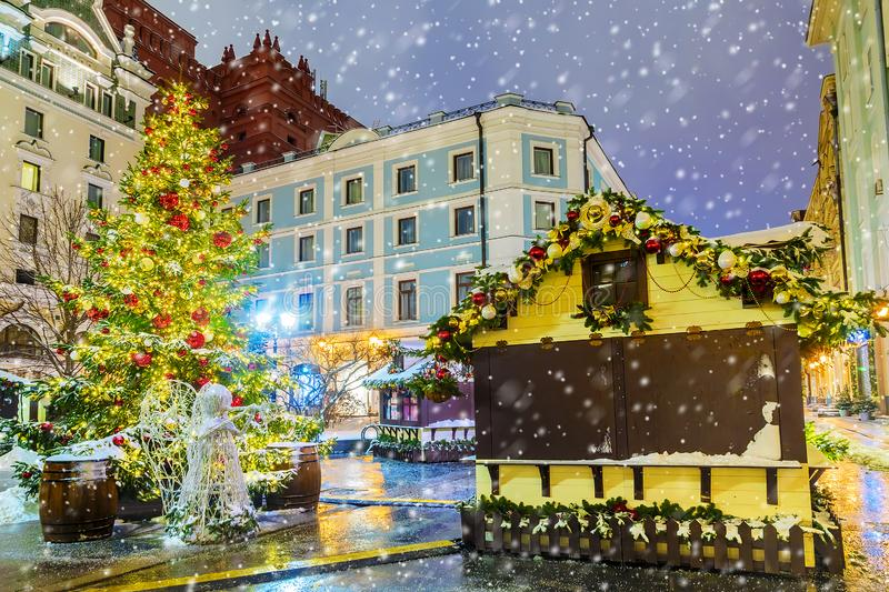 Christmas in Moscow. Christmas fairs on the streets of Moscow.  royalty free stock image