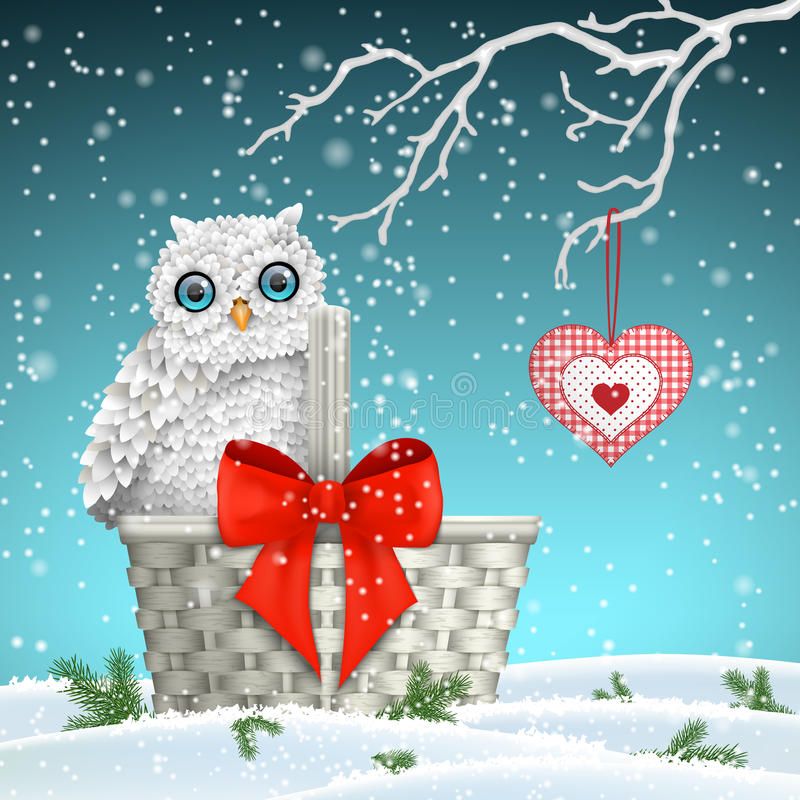 Free Christmas Motive, Cute White Owl Sitting On Old Basket With Big Red Ribbon, Illustration Royalty Free Stock Photography - 78942147